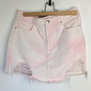 Forever 21 Light Pink Distressed Denim Min…
